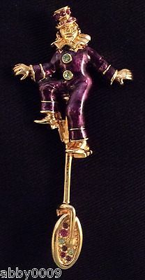 Signed Swan Swarovski Gold Plated Clown Riding Unicycle Brooch Pin