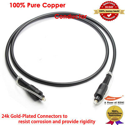 YellowKnife Toslink Cable (3 Feet) - Optical Digital Audio Cable, Gold-Plated