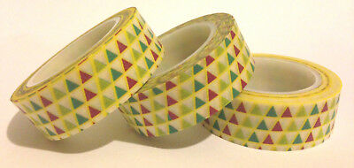 Washi Tape Coloured Triangles 15Mm X 10Mtr Planner Scrap Craft Wrap Mail Art