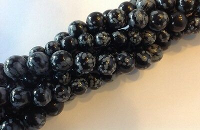 Snowflake Obsidian gemstone round beads - FULL STRANDS