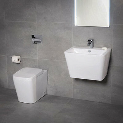 Modern Bathroom Back To Wall Pan Basin 2 Piece Cloakroom BTW Toilet Sink Suite