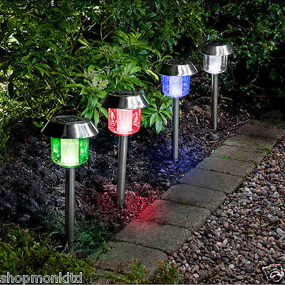 4x Colour Changing Solar Powered LED Lights Outdoor Garden Path Post Lighting