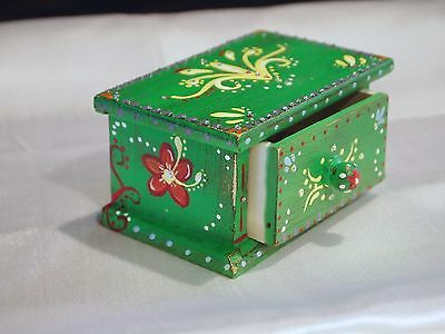 Maiden Hell Inc Hand Painted Green, Colorful Boho  Jewelry Keepsake Trinket Box