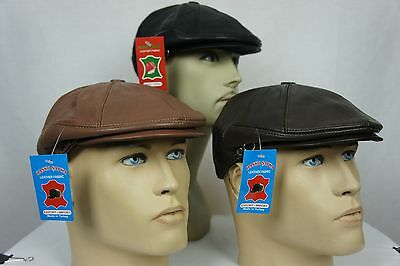 652541c1f42 NWT 100% LEATHER Men Gatsby Cap Newsboy Ivy Hat Golf Driving Flat Cabbie S-