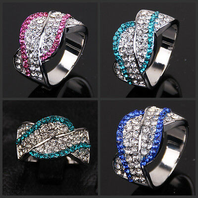 New size 7 8 9 Lady's 18KGP White Gold Plated CZ Crystal Ring Gril Gift
