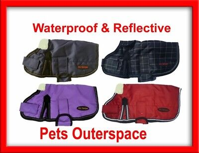 Reflective Waterproof Dog Rug Coat Jacket Small to Medium 25 30 35 40 45 50 55cm