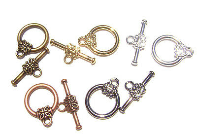 10 sets of Antiqued Copper Flower Toggle Clasps 22X14mm