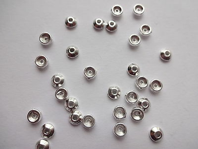 100/200/500 Bright Silver Tibetan Plain Bead caps 4mm