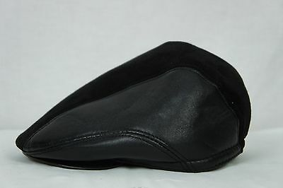 f08f65deb20 Black 100% LEATHER Suede Driving Newsboy Ivy Hat Golf Gatsby Flat Cabbie  M-3XL