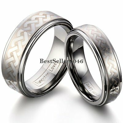 Laser Link Celtic Knot Ridged Edges Tungsten Carbide Ring Couples Wedding Band