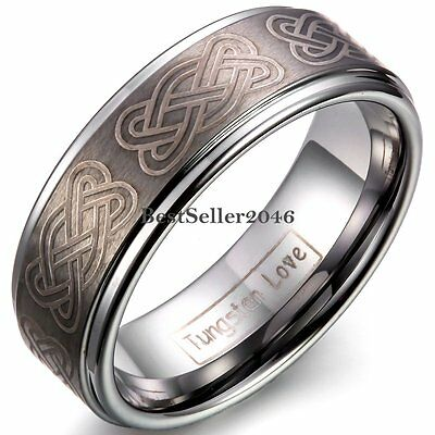 8mm Tungsten Carbide Celtic Knot Men's Comfort Fit Wedding Band Ring Size 8-12