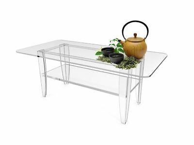 All Clear Tabel Plexiglass Coffee Table Lucite Frame Glass Top Sofa Table