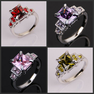 Fashion Lady's 18KGP White Gold Plated Ruby Amehtyst Size 7 8 9 10 RING Gift