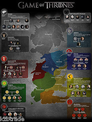 Giant Fridge Magnet - Game Of Thrones - The Major Houses  Map Of Westeros - Gift