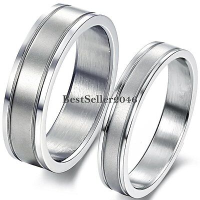 Silver Stainless Steel Double Grooved Engagement Ring Anniversary Wedding Band
