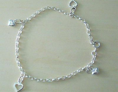 Solid 925 Sterling Silver 4 x Hearts Charm Bracelet Anklet Belcher Chain 6-12""