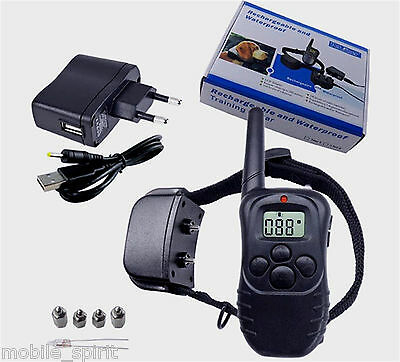 Rechargeable Waterproof 100LV Level Shock Vibra Remote Training Collar for 1 Dog