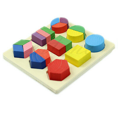 3pcs Kids Wooden Geometry Block Puzzle Montessori Early Learning Educational Toy