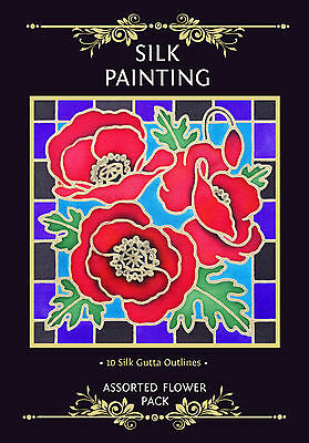 Silkcraft Silk Painting - Gutta Outlines -Card Making - Flower Pack (Pack of 10)