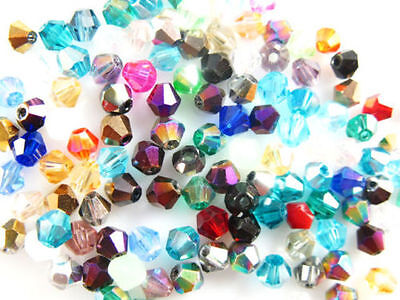 Wholesale Lots 100Pcs Faceted Glass Crystal Nice Bead Spacer Bicone Finding 4mm