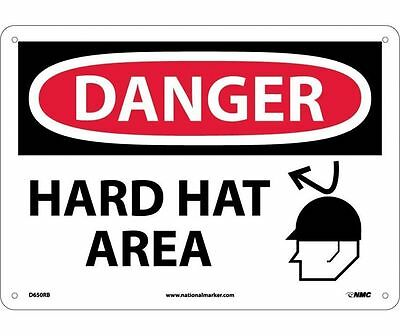 "NMC D650RB Safety Sign ""DANGER HARD HAT AREA"" 10"" X 14""  Rigid Plastic"