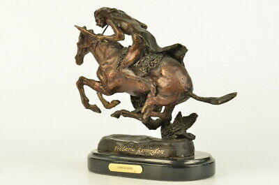 Real Bronze on Marble Base Native American Indian on Horseback by F. Remington