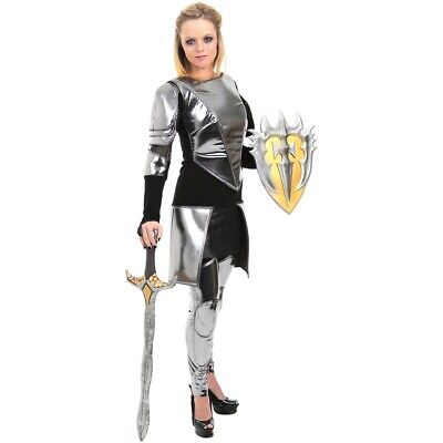 Joan of Arc Costume Female Warrior Knight Armor Snow White Adult Fancy Dress