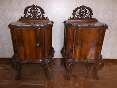 BEAUTIFUL ITALIAN BURLED WALNUT BEDROOM SET NIGHT STANDS- 14IT027C
