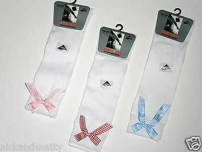 Gingham Bow Knee High School Socks  All Sizes-Colours