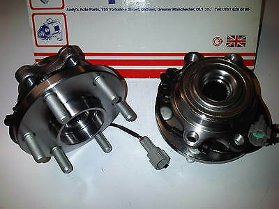 FITS NISSAN NAVARA D40 2.5 3.0 DCi 4X4 2x NEW FRONT WHEEL BEARINGS /HUBS 05-on