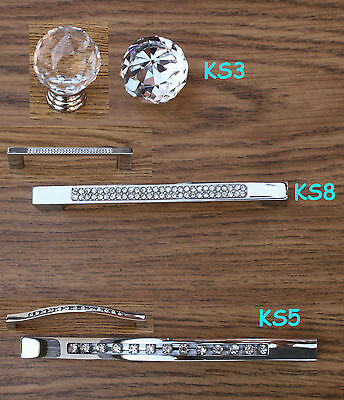 Crystal Diamond Glass K9 Doors Drawers Knobs/Handles Cabinet Cupboard Set