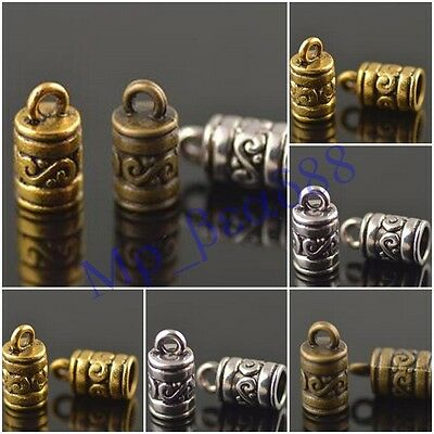 50Pcs End Caps Bead Stopper Fit 4mm Leather Cord Jewelry DIY Marking Charms NEW