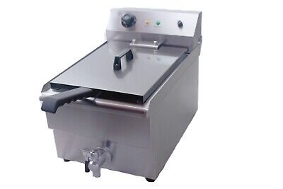 Electric Deep Fat Chip Fryer 10 Litre With Drain Tap Fish Sausages Tempura Fryer