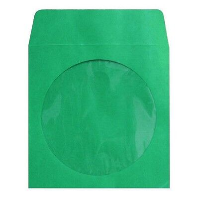 400 Premium Green CD DVD R Disc Paper Sleeve Envelope Clear Window Flap