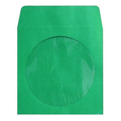 1000 Premium Green CD DVD R Disc Paper Sleeve Envelope Clear Window Flap