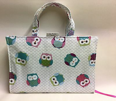 A4 diary cover book bag in owl print oilcloth