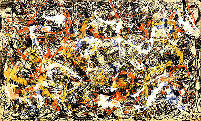 """38W/""""x22H/"""" CONVERGENCE by JACKSON POLLOCK DRIBBLES SPLATTER ABSTRACT CANVAS"""