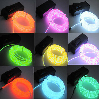 US 5M/16ft Flexible EL Wire Neon LED Light Rope Party Car Decorati BATTERY PACK