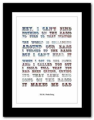 R.E.M.- Radio Song  ❤ song lyrics typography poster art print - A1 A2 A3 or A4