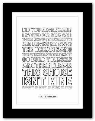 R.E.M.- So. Central Rain  ❤ song lyrics typography poster art print - A1 A2 A3