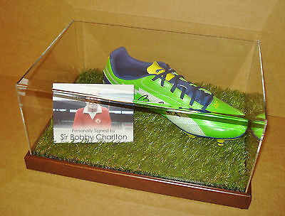Bobby Charlton Signed Football Boot Display Case Genuine Man Utd Autograph + COA