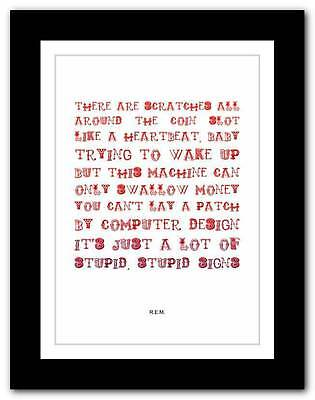 R.E.M.- The Sidewinder Sleeps Tonite ❤  typography poster art print