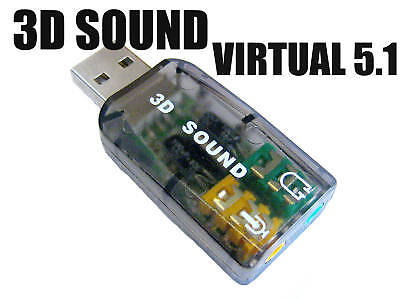 USB Interface 3D 5.1 Virtual Audio Sound Adapter Card Digital Surround Channel 1