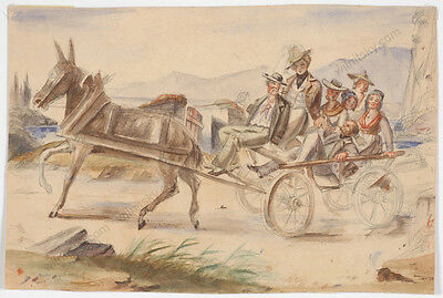 """Neapolitan Carriage"", Italian School, Early 19th Century, Watercolour"