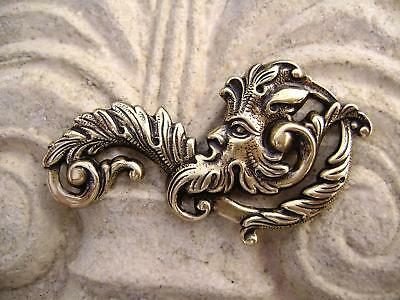 2162 Antiqued Gold Brass Stamping Green Man Centerpiece Pendant Made in USA