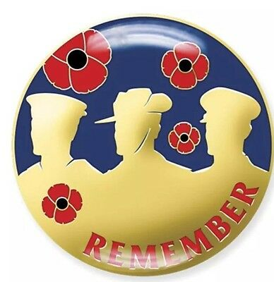 REMEMBRANCE DAY -BLUE/GOLD REMEMBER SERVICEMEN POPPY LAPEL PIN *Memorial Day *