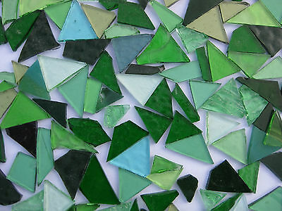 """50g - MIXED GREEN"" Handcut Stained Glass for MOSAIC & Glass Crafts"
