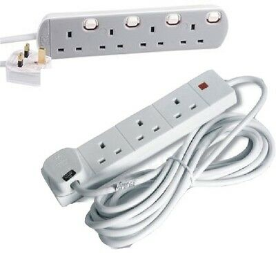 1m Switched Neon Mains Extension Lead 5 Gang 1 Metre White Grey Cable 5G 13A