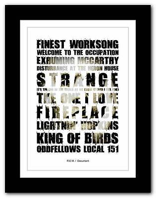 ❤  R.E.M - Document  ❤ typography poster art print - A1 A2 A3 or A4