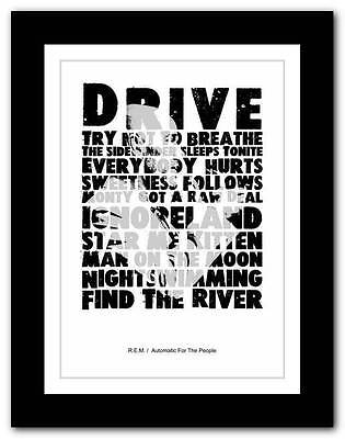 ❤  R.E.M Automatic For The People ❤ typography poster art print - A1 A2 A3 or A4